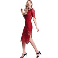 Wholesale Tunic Bridesmaid Dresses - Sexy Women Lace Embroidery Bandage Dress Elegant Sexy Half Sleeve Lace Tunic Casual Club Bridesmaid Vestidos Party Dresses WT33117