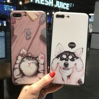 Wholesale Universal Mobile Cartoon Cases - For iphone6s cell phone with iphone7 plus Embossed silicone anti-drop cartoon men and women universal mobile phone shell free shipping