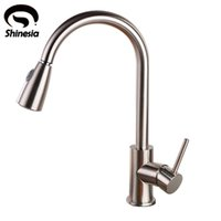 Wholesale Brushed Nickle Brass Pulls - Wholesale- Brushed Nickel Solid Brass Pull Out Kitchen Brass Kitchen Sink Faucet Mixer Tap