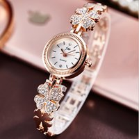Wholesale floral clocks - Top Luxury Brand Bracelet Watches Women Rose Gold Quartz Watch Floral Rhinestone Stainless Steel Wristwatches female clock