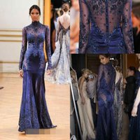 Wholesale Zuhair Murad Burgundy Chiffon Gown - Zuhair Murad Dark Navy High Neck Lace Formal Evening Dresses See-though Long Sleeves Beaded Appliques Custom Prom Celebrity Gowns