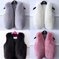 chica de zorro abrigo de piel al por mayor-Nueva Otoño Invierno Baby Girl's Fox Faux Fur Waistcoat Ropa de la muchacha Niños Outwear chalecos calientes Kid's Children Chaleco Abrigo