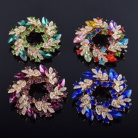 Wholesale Gold Rhinestone Brooch Buckle - Multi Color Shining Crystal Petal Flower Pin Brooches For Women Wedding Party Gifts Brooch Scarf Buckle Jewelry YZ
