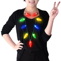 Wholesale Flashing Necklace Christmas - Christmas Necklace LED Light Up Bulb Party Favors For Adults Or Kids As A New Year Gift