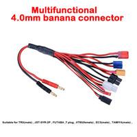 Wholesale Tamiya Plug Free Shipping - Free shipping 4.0mm banana connector to Female Tamiya Futaba TRX EC3 JST XT60 Multifunctional Lipo charger Plug Convert Cable