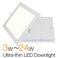 Wholesale Thin 1w Led - Wholesale- Ultra Thin Square LED Downlight Slim Panel 3W 6W 9W 12W 15W 18W 24W Driver Lamp Ceiling Recessed Light Indoor Lighting For Home