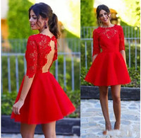 Wholesale Red Wedding Evening Dress - Stunning Red Lace Cocktail Party Dresses 2017 New Arrival Applique Jewel Neck Half Sleeves Evening Wedding Guest Gowns Short Party Dress