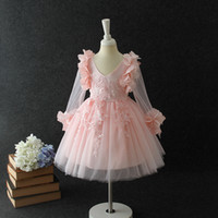 Wholesale Chiffon Lace Special Occasion Dresses - Fashion girl dress pink princess style for special occasions ball gown with bowknot for 3 4 5 6 7 8 years old