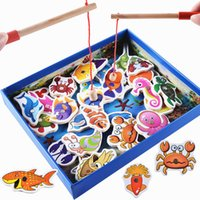 Wholesale Wooden Fishing Game - Baby Educational Toys 32Pcs Fish Wooden Magnetic Fishing Toy Set Fish Game Educational Fishing Toy Child Birthday Christmas Gift