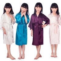 Wholesale Children S Wedding Gowns - Wholesale- 2016 Satin Pajama Kid   Children Sleepwear Wedding Flower girls Gown High Quality Kimono Robes Solid Color Nightgown