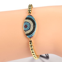 Wholesale Platinum White Zircons - New Classic Evil eye Micro inlay CZ Pave beads Unisex Zircons Turkey Link Adjustable Chain Bracelets &Bangle JF