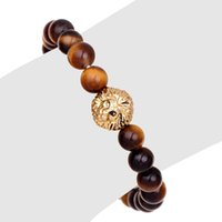 Wholesale Gold Tiger Jewelry - Tiger eye bracelet elastic rope chain strands love brand lion head natural stone jewelry friendship bracelets for Gentry