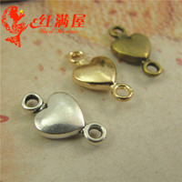 Wholesale Pendant Connector Bronze - 15*8MM Antique Bronze heart connector charms for bracelet, metal gold dangle vintage silver pendants for necklace, jewelry making materials