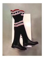 Wholesale Latex Rubber Socks - 2017 Luxury Brand Socks Boots Women Over The Knee High Boots Autumn Winter Knitted Shoes Long Thigh High Boots Elastic Slim Size 35-42