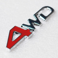Car Tail Rear Side Metal 4x4 RC Car 4WD Sticker 3D Chrome Badge Emblème de voiture Badge Decal Auto Décor Styling 4WD Red Pour JEEP SUV Trunk