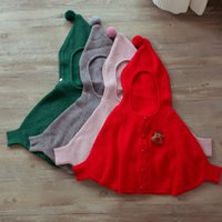 Everweekend Baby Girls Batwing Sleeve Трикотажные свитера Кардиганы Куртки с шапками Candy Red Pink Grey Color Christmas Clothing
