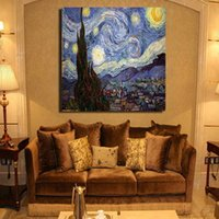 Wholesale Hand Painted Oil Painting Reproductions - Abstract Wall Paintings Van Gogh Oil Painting Reproductions Starry Sky Picture 100% Hand Painted On Canvas Unframed Big Size