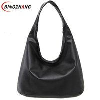 Wholesale Women Celebrity Pu Tote Bag - Wholesale- 2016 New Shoulder Bags Vintage Bag Leather Bags Women Celebrity Tote Shoulder Bag Handbag Solid Black Colors L4-2431