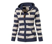Wholesale Double Zip Jackets - 2017 Hot sales Autumn winter women Sweater Striped Hooded Zip Jacket Long-sleeved self-cultivation Combine color sexy Sweatshirts