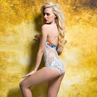 Wholesale Bikini Kinder - Mesh Printing Swimwear Beach Sexy Slim Swimsuit Like a fishing net like swimsuit Can be two kinds of wear bikini floral bra white S M L 2120