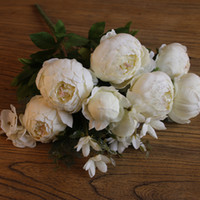 6 Heads + 2 Buds + 3 Aquatic plants Artificial Peony Silk Flower Wedding Decor Paeonia suffruticosa Decoration flowers