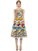 kadın alt midye elbiseleri toptan satış-2017 Marka Aynı Stil Elbise Baskı Yaz Ekip Boyun Bir Çizgi Orta Buzağı Kolsuz İmparatorluğu Ünlü Stil Elbise Kadınlar Elbise SH8