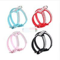 Wholesale Bling Dog Harnesses - New product hot sale Bling Rhinestone PU Leather Puppy Small Collar Harness Chihuahua Care Pet Shop Dog Acessorios Coleira Para Cachorr A