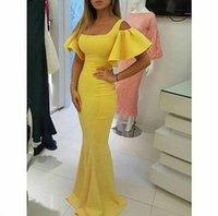 vestidos de baile de finalitos pequenos e inchados venda por atacado-2019 Designer Vestidos De Baile Vestidos De Formatura Amarelo Decote Quadrado Curto Puffy Manga Sereia Vestidos de Noite