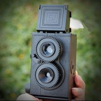 Wholesale Diy Lomo - Wholesale- Fashion Black DIY Twin Lens Reflex TLR 35mm Lomo Film Camera Kit Classic Play Hobby Photo Toy Gift