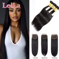 Wholesale human hair extentions colors resale online - Peruvian Virgin Hair Straight Hair Bundles With Closure Bundles With X4 Free Closure Human Hair Extentions weave