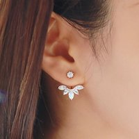 Wholesale Rose Pierced Earrings - 2016 New Zircon Crystal 3 Colors Rose Gold Ear Cuff Clip Leaf Stud Earrings For Women Jacket Piercing Earrings Fine Jewelry