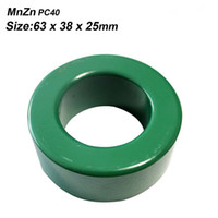 Wholesale Power Ferrite - Free shipping Mnzn PC40 ultra larger power transformer or inverter ferrite core 63X38X25mm green toroidal 2pcs lot