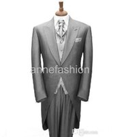 Wholesale Tie Color For Grey Suit - Custom made grey morning coat Groom wedding tuxedos Tailored men suit for bestman Long tail tuxedos(jacket+pants+vest+tie)