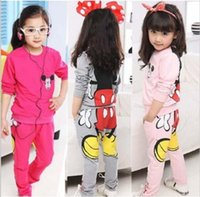 Wholesale Girls Clearance - Clearance 3-13year big Girl Cartoon Minnie children clothing sets Top Hoodies+Pants 2pcs Outfits kids clothes girls clothing set