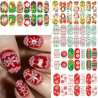 Wholesale Nail Sticker Glow - Wholesale- New Xmas Nail Wraps Luminous Glow Full Nail Sticker Christmas Santa Nail Art Decorations Foils Tips DIY Decal 11 Kind Of Styles