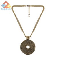 Wholesale Large Horn Necklace - New Women's Alloy Pendant   Necklace 100% eco-friendly zinc alloy plated gold 1pieces  lot Large drop shipping