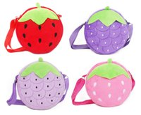 Wholesale Strawberry Backpacks - Children Outdoor Cartoon Bag Strawberry Purse Bags Grape Design Zip Design Adjustable Belt Size 18.0CM Height