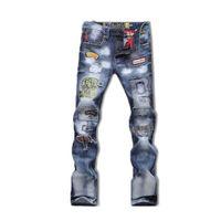 Wholesale Embroidery Jeans Patch - Wholesale- new popular style hole patch patch beggars Slim jeans pants men men's large size men's fashion trousers