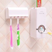 Wholesale Toothbrush Toothpaste Holder Set - 1 set Tooth Brush Holder Automatic Toothpaste Dispenser + 5 Toothbrush Holder Toothbrush Wall Mount Stand Bathroom Tools