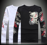 Wholesale Fish Pattern Shirt - Chinese wind man domineering dragon fish animal pattern kylin printing and embroidery long sleeved T-shirt shirt repair kanye west vetements