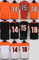Wholesale Ross Shipping - Elite Stitched Blank #15 John Ross 14 Andy Dalton 18 AJ Green White Black Orange Green Mix Order Home Road Jerseys Drop Shipping