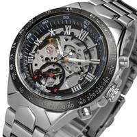 Wholesale transparent glass wrist watch - Luxury Men's Black Full Steel Transparent Skeleton Automatic Mechanical Wrist watches Dress Clock Male Silver Relogio Masculino Drop Shippin