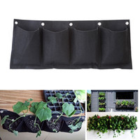 Wholesale Wall Cloth Pocket - Outdoor Indoor Vertical Gardening Hanging Wall Garden 4 Pockets Planting Bags Seedling Wall Planter Growing Bags EJ877003