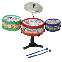 Wholesale Toy Musical Instruments Band Kit - Wholesale-1 Set Mini Children Drum Kit Set Musical Instruments for Band Toy Bass Gifts Kids Music Learning & Educational