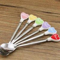 Wholesale Ceramic Teaspoon - Wholesale- 1Pc Long Handled Ceramic Stainless Steel Small Ice Spoon Heart Shape Teaspoon Coffee Cream Mini Spoon tool A40