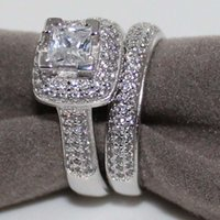 Wholesale Diamond Zircon Crystal Rings - Princess Square Zircon Crystal Wedding Ring Set for Women Vintage K White Gold Plated Filled With Inlay AAA CZ Diamond Party Gift