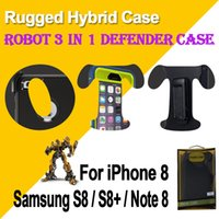 Wholesale Galaxy Note Belt Clip - For Galaxy S8 Plus Note 8 iPhone X 8 Robot 3 in 1 Defender Rugged Hybrid Case with Belt Clip Box Package Supreme Quality