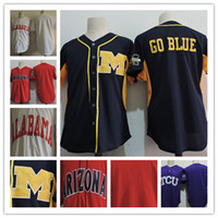Wholesale purple frogs - Mens TCU Horned Frogs purple Alabama Crimson Tide white Michigan Wolverines navy Arizona Wildcats Red Stitched NCAA College Baseball Jersey
