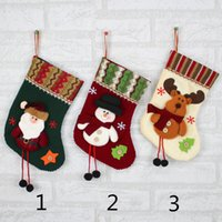 Wholesale Christmas Socks Decorations - 2017 Christmas Toys Cute Plush Soft Socks Christmas Party decorations Santa Stocking Gift Bag Best Gifts for Christmas