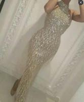 Wholesale Kardashian Bodycon - Evening dress Yousef aljasmi Labourjoisie Charbelzoe Sheath Crystals High neck Long dress Crystals Kim kardashian Zuhair murad